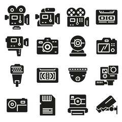 Vector gray Video and Camera icons set