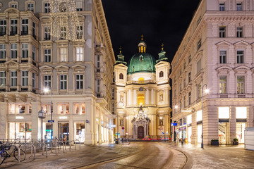 Wall Mural - St. Peter's Catholic Church at night. Vienna, Austria