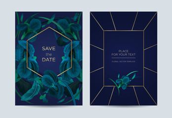 Invitation card in baroque floral style. Irises on a blue background. It can be used as a template for weddings, special events, concerts and exhibitions.