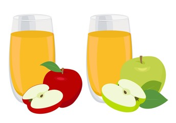 Juice set. Glass of apple juice with red and green apples. Vector illustration on white background