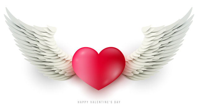 3d realistic red heart with paper wings isolated on white background. Happy valentine's day concept. Template for cover greeting card, flyer, poster. Holiday cartoon vector illustration.