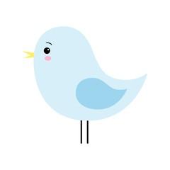 Vector Cartoon style Cute Blue Bird Isolated