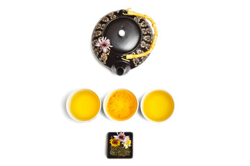 Aesthetic Tea ceremony on white background