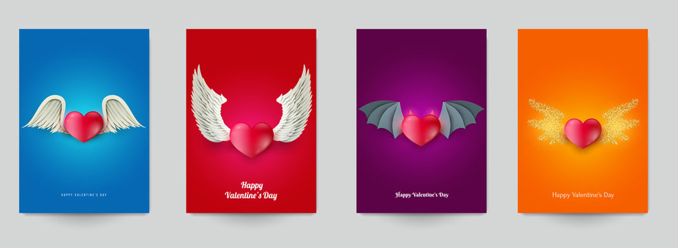 Happy valentine's day beautiful design template. Minimal composition with 3d heart and wings. Set holiday background for branding greeting card, banner, cover, flyer or poster. Vector illustration.