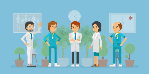 Healthcare specialists, doctors and nurses set in flat cartoon style