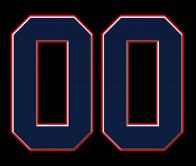 00 American Football, Baseball and Basketball Classic Vintage Sport Jersey Number in blue, white and red. Colors of the American flag design Patriot, Patriots 3D illustration with, on black background