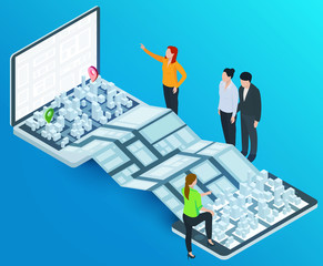 3d isometric laptop and smartphone with smart city map. Design concept for mobile gps or tracking navigation application. Vector infographic template.