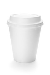 White paper coffee cup with plastic top.
