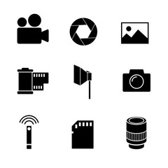 Photography vector icon set on white background.
