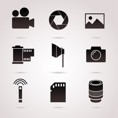 Photography icon set isolated on white background. Vector art.