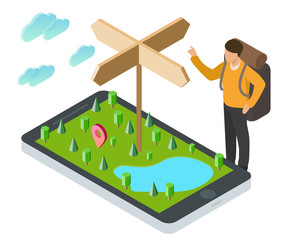 3d isometric smartphone with nature green landscape, lake, cloud, trees, wood pointer and tourist. Design concept for mobile gps or tracking navigation application. Vector infographic template.