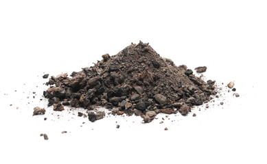Coal ash isolated on white background