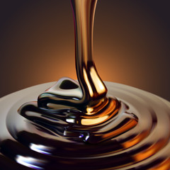Glossy flowing chocolate jet on a brown background.. High detailed realistic illustration.