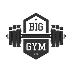 Dumbbell silhouette. Template for bodybuilding and sport fitness logo, label, emblem, badge or branding design in retro, vintage style. Vector illustration.