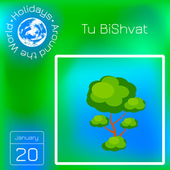 Tu BiShvat. Jewish festival of fruit trees. Tree with a green crown. Calendar with name and date.