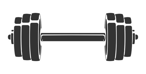Vector hand drawn silhouette of dumbbell isolated on white background. Template for sport icon, symbol, logo or other branding. Modern retro illustration.