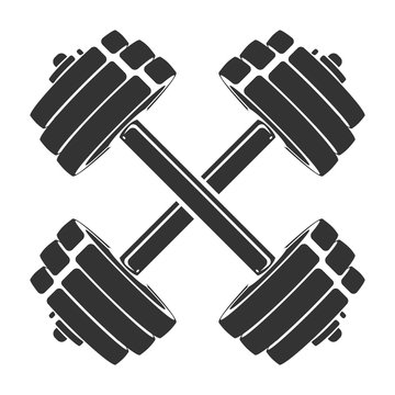 Vector hand drawn silhouette of crossed dumbbells isolated on white background. Template for sport icon, symbol, logo or other branding. Modern retro illustration.