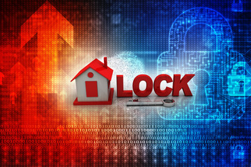 3D rendering of a key lock with a house