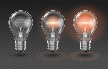 Three transparent light bulbs, one of which is off, while the others are lit with different brightness on a transparent background. Highly realistic illustration.