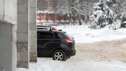 Winter, city and cars-the concept of the winter season for drivers