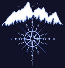 Berge mit Baum Silhouetten, Vögel und Sonnen Totem mit Windrose. Tolles Design für alle die gerne wandern, klettern und Ski fahren.