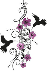 Kolibris mit Hibiskusblüten und filigraner Ranke. Hummingbird. Watercolor Style.