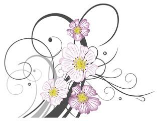 Florale Ranke mit Wildrosenblüten und Blumen. Sommerranke mit Schnörkeln.