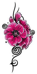 Pinke Geranie mit Tribal Ornament und Spiralen. Ranke für den Sommer.