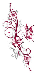 Filigrane Ranke mit Blumen, Schmetterling und Kirschblüten. Kirschrot und grau.