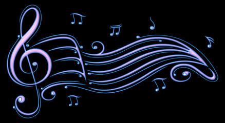 Musik, Notenschlüssel mit Notenblatt und Musiknoten. Sommer Festival Motiv in lila und blau.