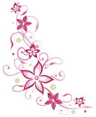 Florale filigrane Ranke mit Blumen und Kugeln. Sommer Blumenranke. Pinke Blüten.