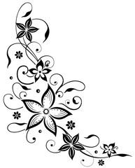 Florale filigrane Ranke mit Blumen und Kugeln. Sommer Blumenranke. Schwarze Blüten.
