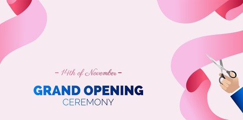 Grand opening horizontal banner. Hand holding scissors and cutting pink ribbon.   Vector Illustration