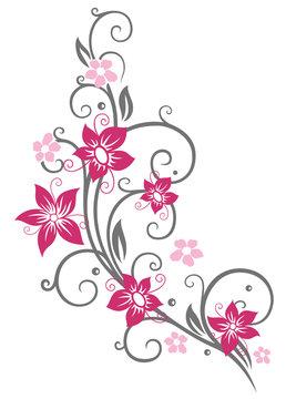 Sommer Ranke mit Blüten und Schnörkeln. Pink und grau.
