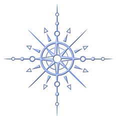 Schneeflocke, Eiskristall. Winterliche Sonne mit Windrose. Tolles Design für alle die den Winter und Schnee lieben und gerne Ski fahren. Eisblau.