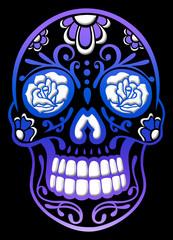 Traditioneller Totenkopf, Sugar Skull, aus Mexiko. Mit Rosen, Blumen und Verzierungen. Lila, Blau und Ultraviolett. Day of the dead, Halloween Design.