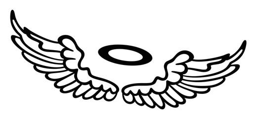 Kleine Flügel, Engelsflügel mit Heiligenschein. Schutzengel.