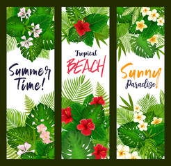 Summer time banners with tropical leaves