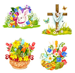 Easter eggs, bunny and flowers in wicker icons