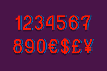 Illusive 3d numbers with currency sign in dynamic vibrant style.