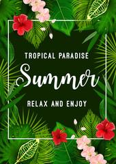 Summer tropical paradise card with palm leaf frame
