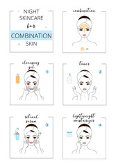 Beautiful girl with combination  skin, face night care for acne skin. Line style vector illustration, isolated on white background.