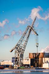 Port crane on a Sunny winter day