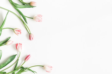Flowers composition. Pink tulip flowers on white background. Valentine's day, Mother's day concept. Flat lay, top view, copy space
