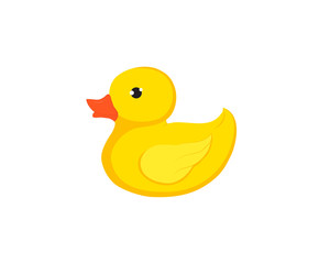 Rubber duck / ducky bath toy flat vector color icon for apps and websites