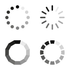 Loading icons on a white background, in flat style