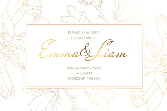Wedding marriage event invitation card template. Spring magnolia garden flowers. Detailed outline drawing.