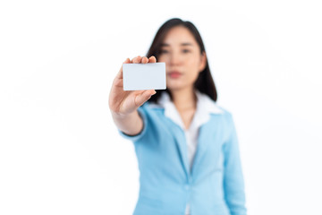 Young woman show a white empty card