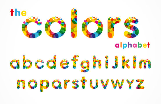 Vector of stylized colorful bubbles font and alphabet. Set of colored letters logo, business graphic symbols template
