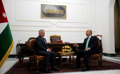 Jordan's King Abdullah meets with Iraq's President Barham Saleh, during his visit in Baghdad